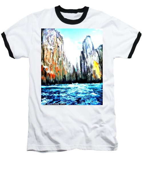 Baseball T-Shirt featuring the painting Cliffs By The Sea by Bruce Nutting