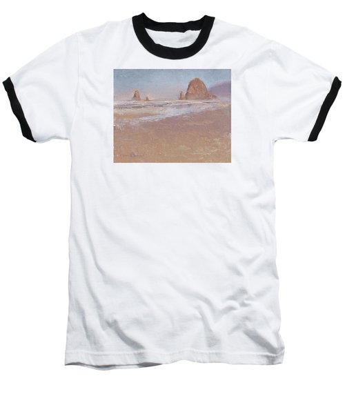 Coastal Escape  Cannon Beach Oregon And Haystack Rock  Baseball T-Shirt by Karen Whitworth