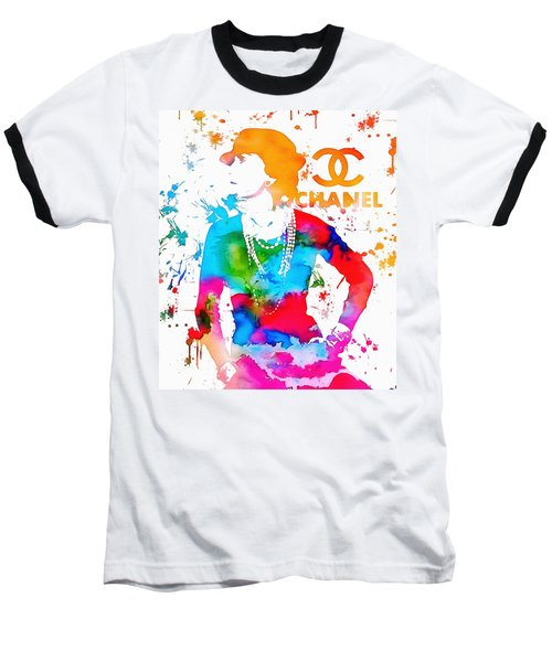 Coco Chanel Paint Splatter Baseball T-Shirt by Dan Sproul