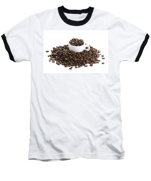 Baseball T-Shirt featuring the photograph Coffee Beans And Coffee Cup Isolated On White by Lee Avison