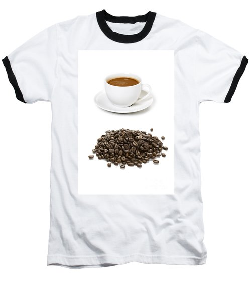 Baseball T-Shirt featuring the photograph Coffee Cups And Coffee Beans by Lee Avison