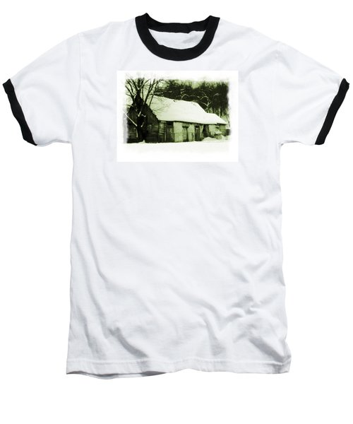 Countryside Winter Scene Baseball T-Shirt