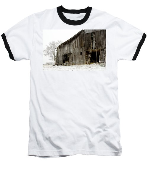 Baseball T-Shirt featuring the photograph Cold Winter At The Barn  by Wilma  Birdwell