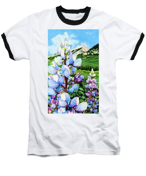 Colorado Summer Blues Close-up Baseball T-Shirt by Barbara Jewell