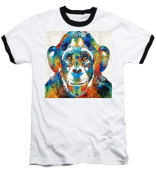 Colorful Chimp Art - Monkey Business - By Sharon Cummings Baseball T-Shirt