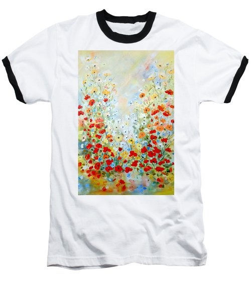Colorful Field Of Poppies Baseball T-Shirt