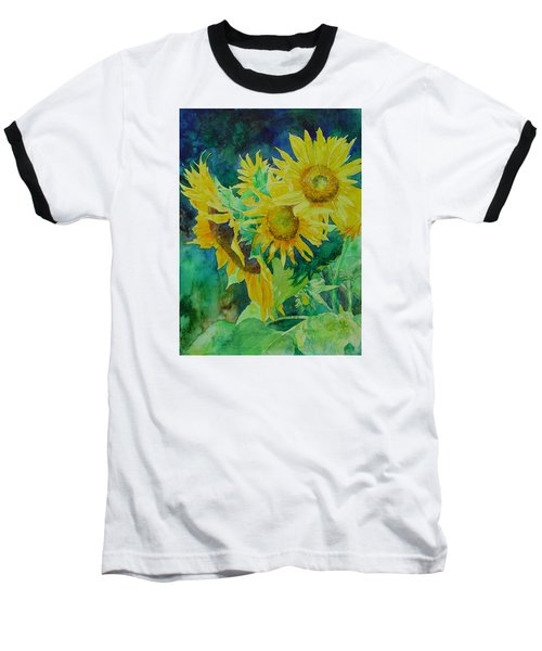 Colorful Original Sunflowers Flower Garden Art Artist K. Joann Russell Baseball T-Shirt