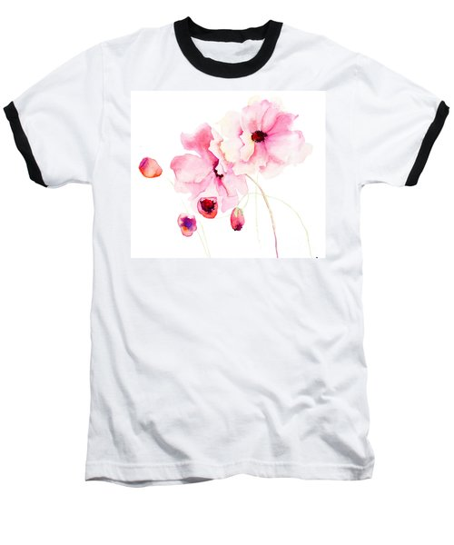 Colorful Pink Flowers Baseball T-Shirt