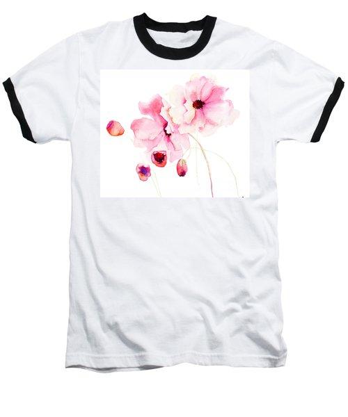 Colorful Pink Flowers Baseball T-Shirt