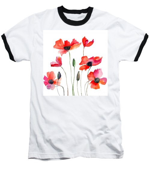 Colorful Red Flowers Baseball T-Shirt