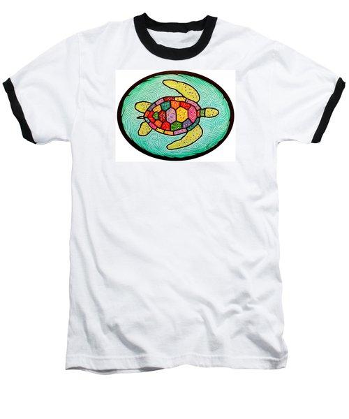 Colorful Sea Turtle Baseball T-Shirt by Jim Harris