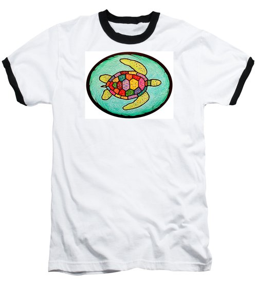 Colorful Sea Turtle Baseball T-Shirt