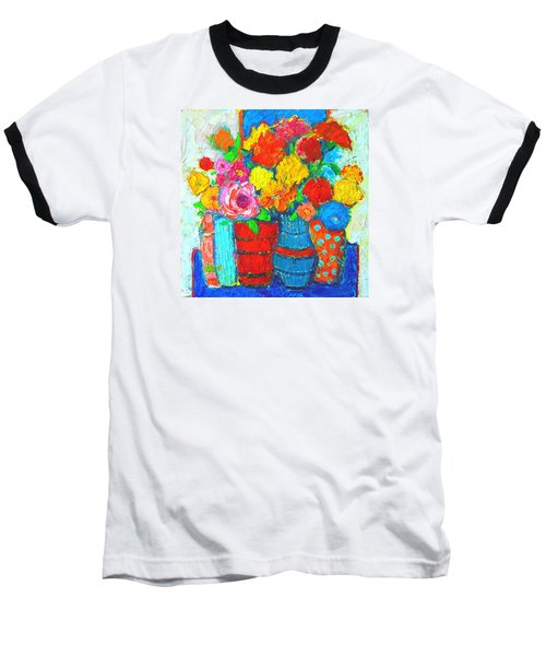 Colorful Vases And Flowers - Abstract Expressionist Painting Baseball T-Shirt