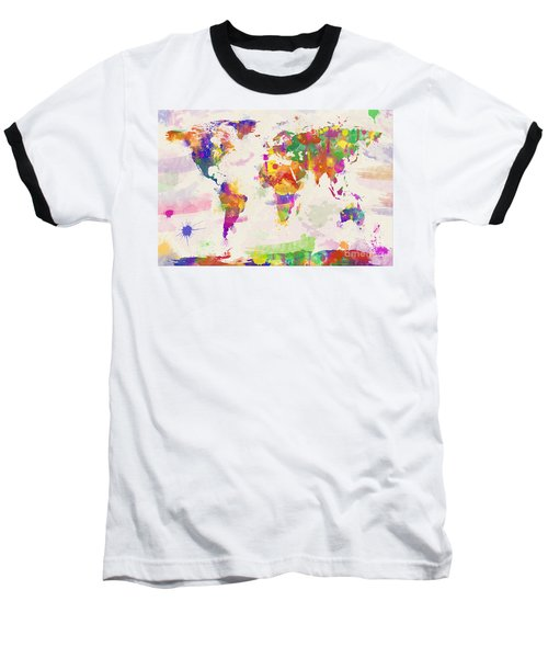 Colorful Watercolor World Map Baseball T-Shirt