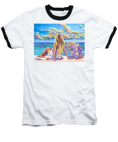 Colorful Woman At The Beach Baseball T-Shirt by Tim Gilliland