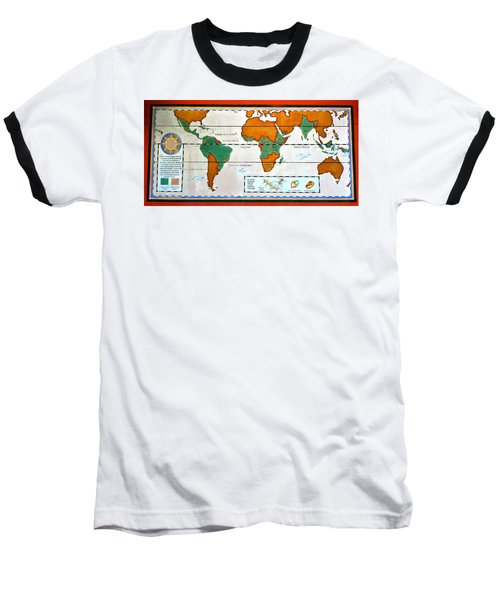 Colorful World Map Of Coffee Baseball T-Shirt