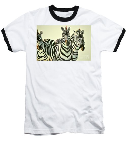 Colorful Zebras Painting Baseball T-Shirt by Maja Sokolowska