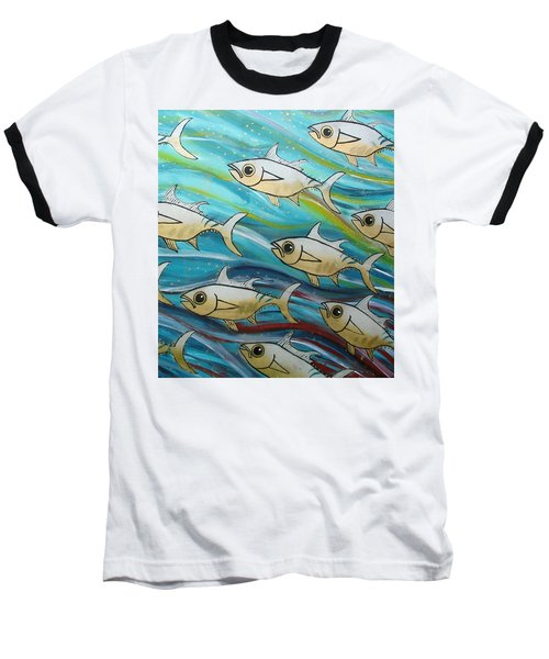 Coloured Water Fish Baseball T-Shirt