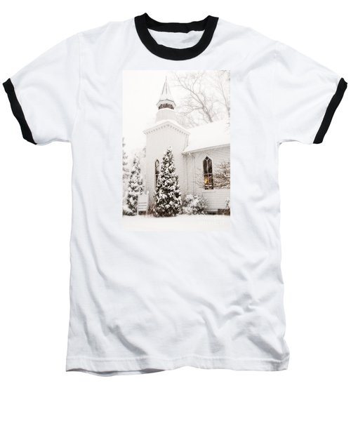 Baseball T-Shirt featuring the photograph White Christmas In Maryland Usa by Vizual Studio