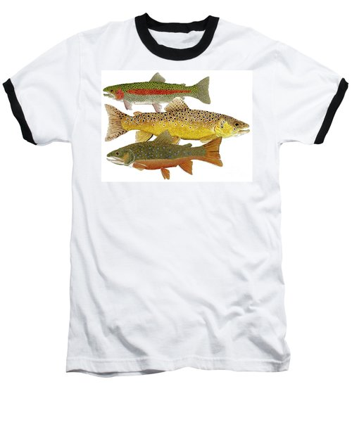 Common Trout  Rainbow Brown And Brook Baseball T-Shirt