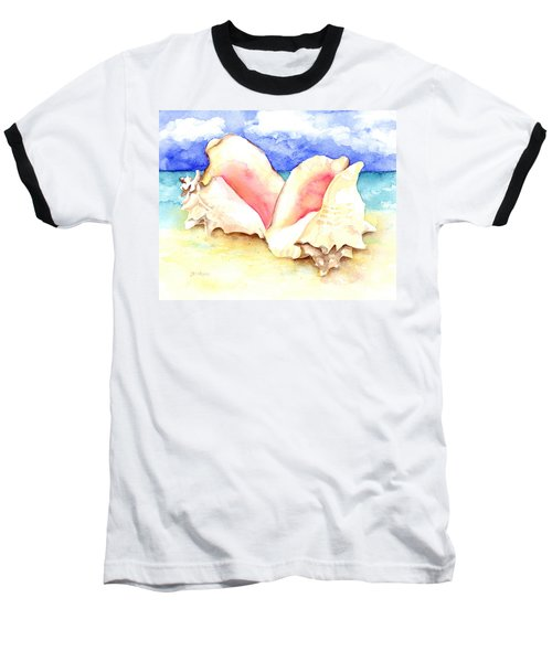 Conch Shells On Beach Baseball T-Shirt