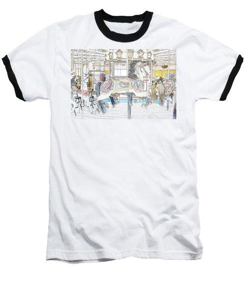 Coney Island Carousel Baseball T-Shirt by Lilliana Mendez