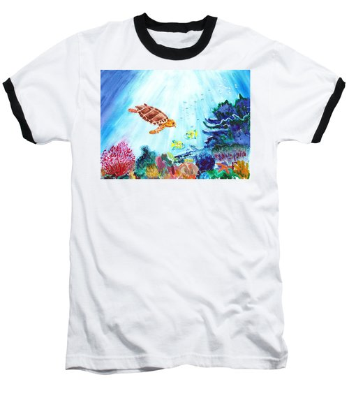 Baseball T-Shirt featuring the painting Coral Reef by Donna Walsh