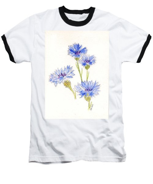Baseball T-Shirt featuring the painting Cornflowers by Stephanie Grant