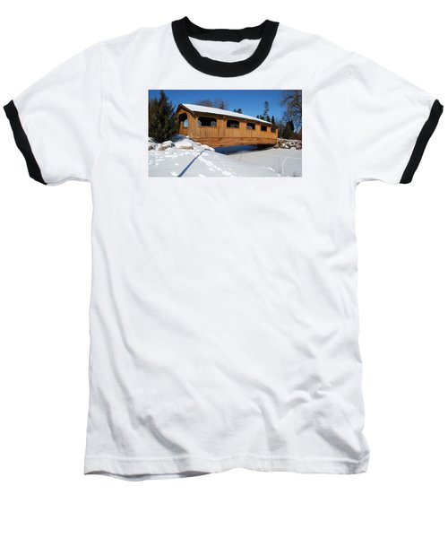 Covered Bridge Crossing The Stream Baseball T-Shirt by Janice Adomeit