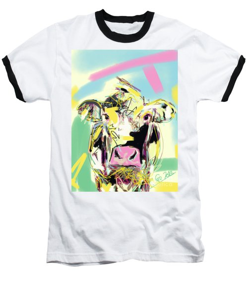 Cow- Happy Cow Baseball T-Shirt by Go Van Kampen