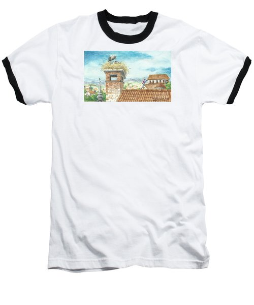 Baseball T-Shirt featuring the painting Cranes In Croatia by Christina Verdgeline