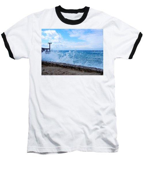 Crashing Waves In Cozumel Baseball T-Shirt by Debra Martz
