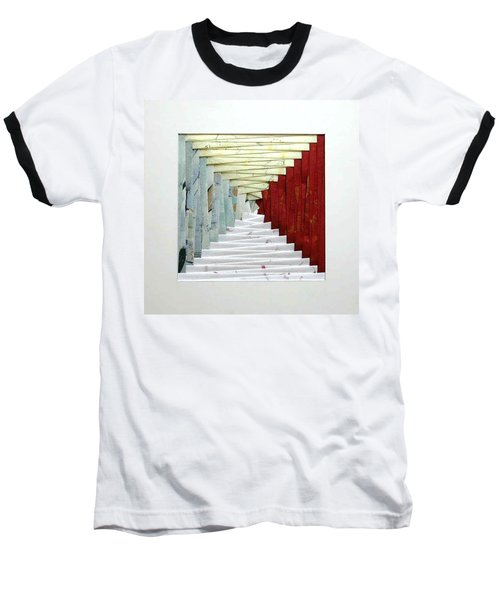Crooked Staircase Baseball T-Shirt by Ron Davidson
