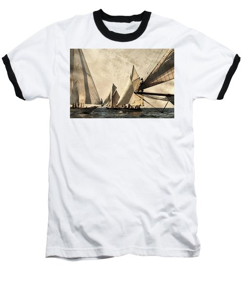 A Vintage Processed Image Of A Sail Race In Port Mahon Menorca - Crowded Sea Baseball T-Shirt