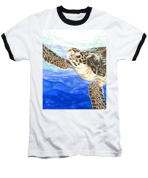 Curious Sea Turtle Baseball T-Shirt