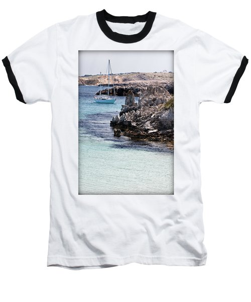 In Cala Pudent Menorca The Cutting Rocks In Contrast With Turquoise Sea Show Us An Awsome Place Baseball T-Shirt