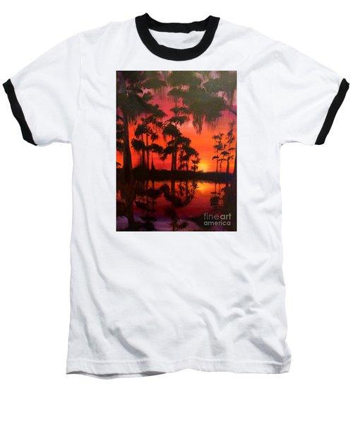 Cypress Swamp At Sunset Baseball T-Shirt