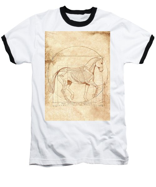 da Vinci Horse in Piaffe Baseball T-Shirt by Catherine Twomey