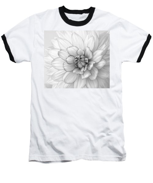Dahlia Flower Black And White Baseball T-Shirt