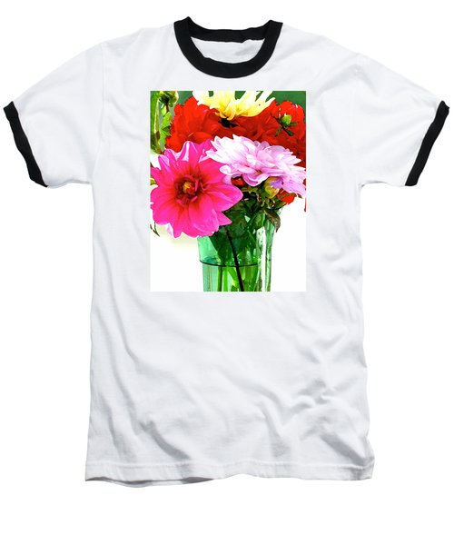 Baseball T-Shirt featuring the photograph Dahlias In The Sun by Lehua Pekelo-Stearns