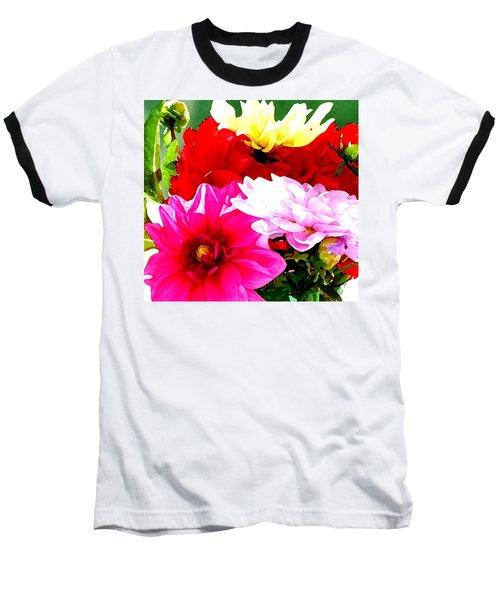 Dahlias  Baseball T-Shirt by Lehua Pekelo-Stearns
