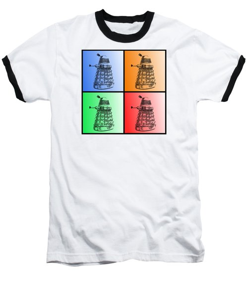 Dalek Pop Art Baseball T-Shirt by Richard Reeve