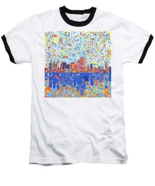 Dallas Skyline Abstract 5 Baseball T-Shirt