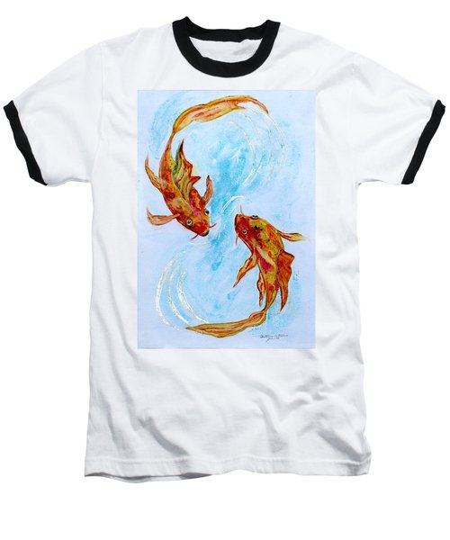 Baseball T-Shirt featuring the painting Dancing Koi Sold by Antonia Citrino