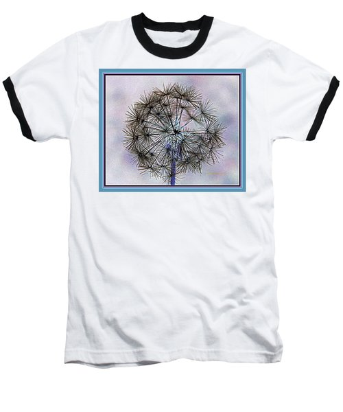 Baseball T-Shirt featuring the photograph Dandelion Blue And Purple by Kathy Barney