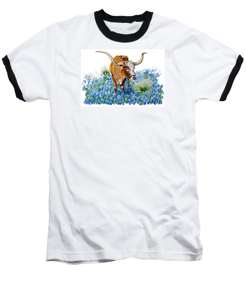 Da102 Longhorn And Bluebonnets Daniel Adams Baseball T-Shirt