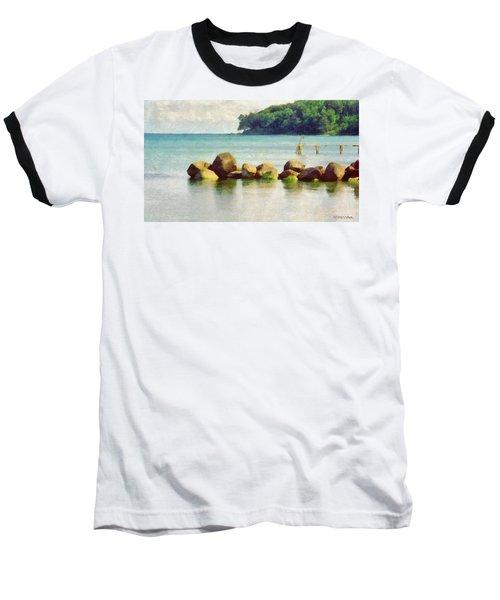 Danish Coast On The Rocks Baseball T-Shirt