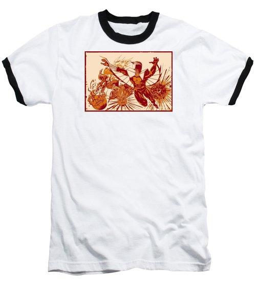 Baseball T-Shirt featuring the digital art Darkhawk Vs Hobgoblin Posterized by Justin Moore