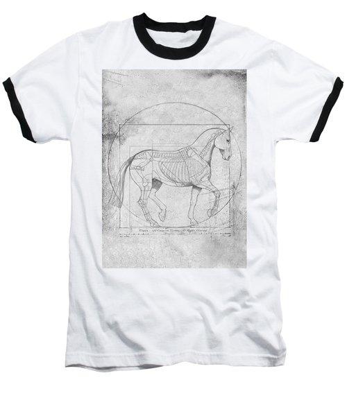 Da Vinci Horse Piaffe Grayscale Baseball T-Shirt