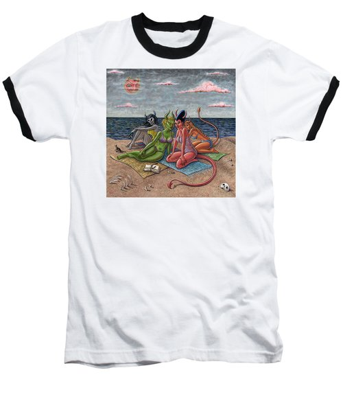 Demon Beaches Baseball T-Shirt by Holly Wood